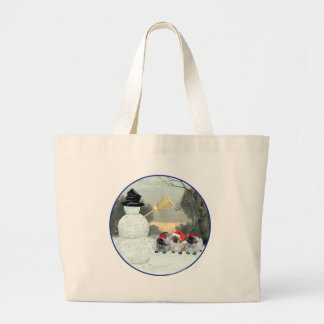 Three Pekingese Puppies Christmas Large Tote Bag