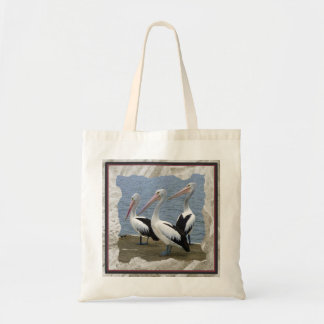 Three Pelicans on Dock Photo Tote Bag Tote Bags