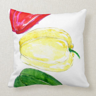 Three Peppers Art Throw Pillow