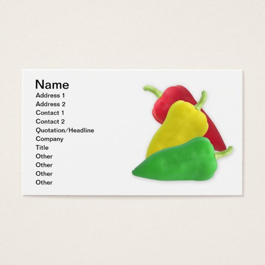 Three peppers business card