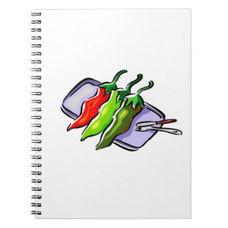 Three Peppers Fork Knife on Tray Graphic Notebook