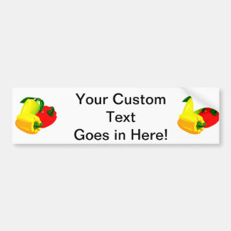 Three peppers graphic red yellow green bumper sticker
