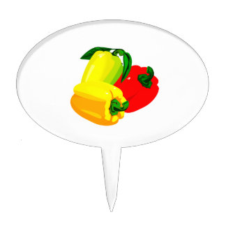 Three peppers graphic red yellow green cake topper