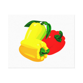 Three peppers graphic red yellow green canvas print