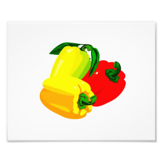 Three peppers graphic red yellow green photograph