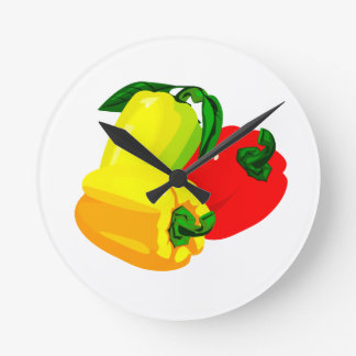Three peppers graphic red yellow green round clock