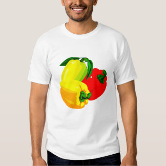 Three peppers graphic red yellow green shirt