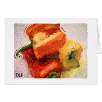 Three Peppers/Vegetables /Watercolor Look