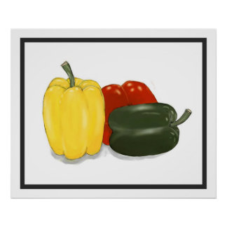 Three Perfect Peppers Poster Print