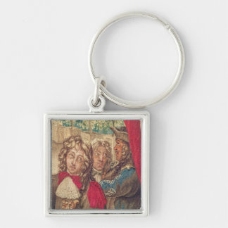 Three persons, from the Month of January Silver-Colored Square Keychain