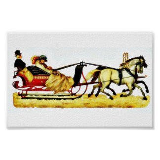 Three persons riding on a horse coach poster