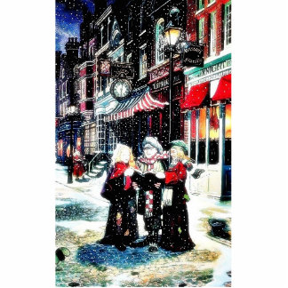 Three persons standing on a street singing christm photo cutout