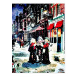 Three persons standing on a street singing christm postcard