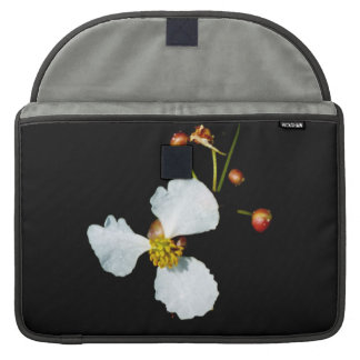 Three petaled white flower black background sleeves for MacBook pro