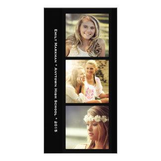 Three Photo Black Frames Graduation Announcement Photo Card
