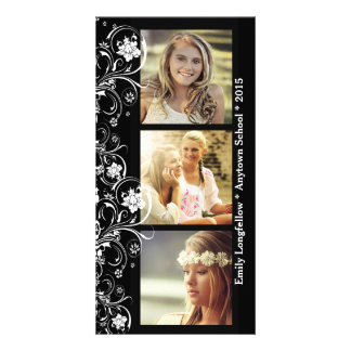 Three Photo Black White Floral Graduation Photo Card