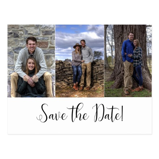 Three-Photo Calligraphy Script Save The Date | Postcard