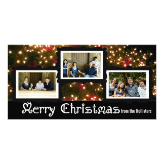 Three Photo Christmas Lights Card