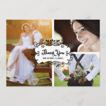 Three Photo Collage Rustic Wedding Thank You Card