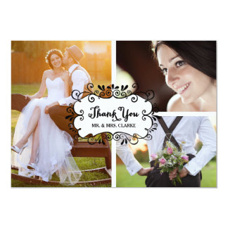 "Three Photo Collage Rustic Wedding Thank You Card 5"" X 7"" Invitation Card"