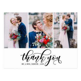Three Photo Collage Thank You Script Wedding Postcard