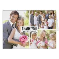 Three Photo Collage Wedding Thank You Card