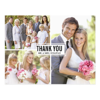 Three Photo Collage Wedding Thank You Postcard III
