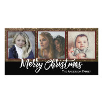 Three Photo Merry Christmas Card