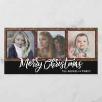 Three Photo Merry Christmas Holiday Card