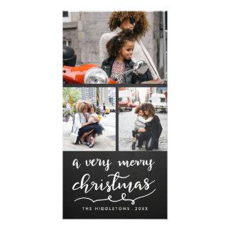 Three Photo Merry Christmas Script Chalkboard Card