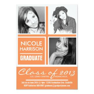 Three Photo Nectarine Orange 2013 Graduation Party Card