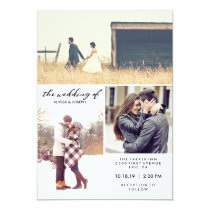 Three Photos and Modern Typography Wedding Invite
