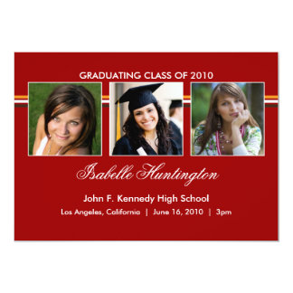 Three Photos Bar Graduation Announcement
