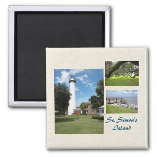 Three Photos of St Simons Island Template 2 Inch Square Magnet