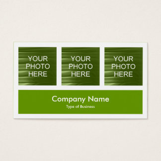 Three Photos Plus One - Avocado Green Business Card