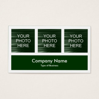 Three Photos Plus One - Dark Green Business Card