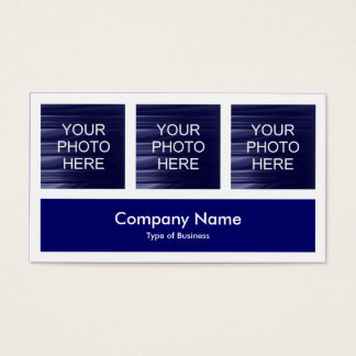 Three Photos Plus One - Deep Navy Blue Business Card