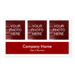 Three Photos Plus One - Ruby Red Business Cards