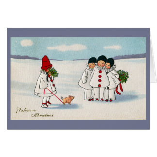 Three Pierrots and One Pig on a Leash Christmas Greeting Card