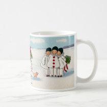 Three Pierrots and One Pig on a Leash Christmas Coffee Mug