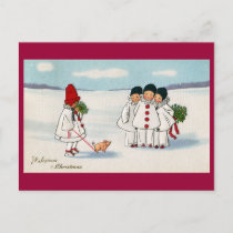 Three Pierrots and One Pig on a Leash Christmas Holiday Postcard