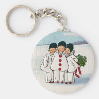 Three Pierrots and One Pig on a Leash Christmas Keychain