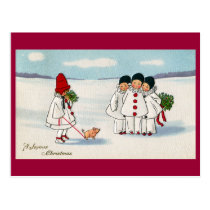 Three Pierrots and One Pig on a Leash Christmas Postcard