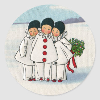 Three Pierrots and One Pig on a Leash Christmas Classic Round Sticker
