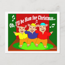 Three Pigs Christmas Christian Gift Holiday Postcard