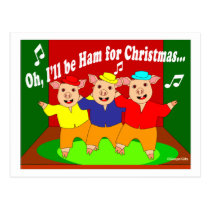 Three Pigs Christmas Christian Gift Postcard