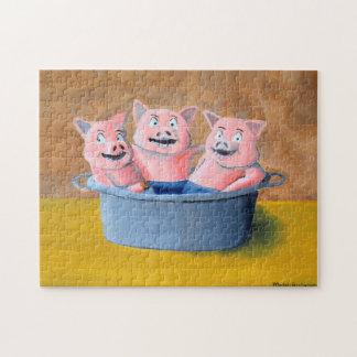 Three Pigs in a Tub Jigsaw Puzzle