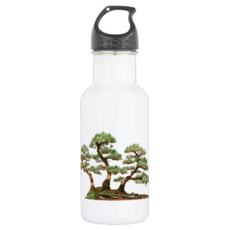 three pine bonsai trees stainless steel water bottle