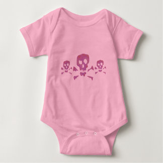 Three Pink Abstract Skulls Baby Bodysuit