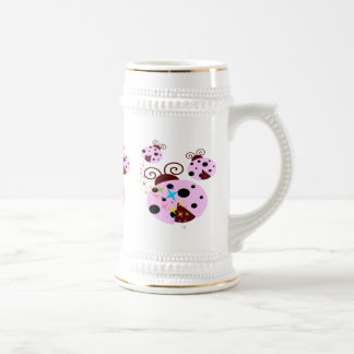 Three pink and black ladybug with stars beer stein